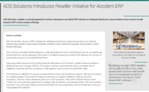 Press Release ADS Solutions Introduces Reseller Initiative