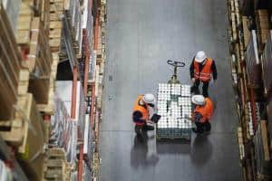 warehouse workers using wms